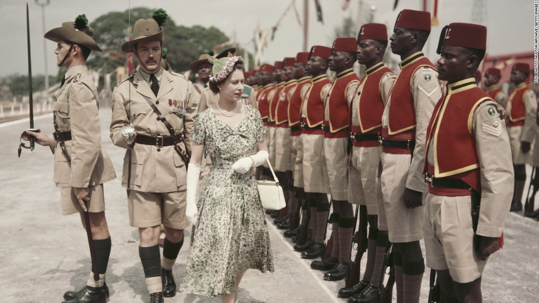 The Queen's Commonwealth Tour took her to Nigeria in February 1956. Here she inspects men of the newly-renamed Queen's Own Nigeria Regiment, Royal West African Frontier Force, at Kaduna Airport.