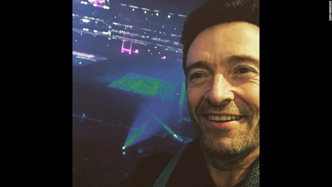 "Actor Hugh Jackman attends a State of Origin rugby match Wednesday, June 17, in Melbourne. ""GO BLUES!"" <a href=""https://instagram.com/p/4B3OGnihDG/"" target=""_blank"">wrote Jackman,</a> referring to the team from New South Wales."