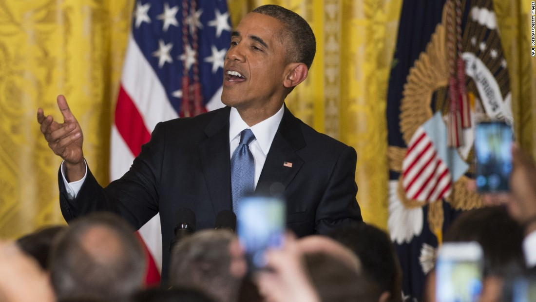 Obama responds to a heckler who interrupted his speech during a White House reception for LGBT Pride Month in June 2015.