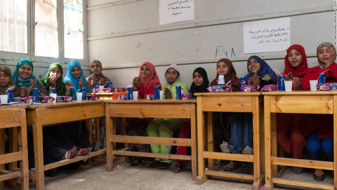 The practice was banned in 2008, but Egypt predicts that more than half of girls in the future will be submitted to FGM. Here, in a photo provided to CNN by the UNFPA, children attend school in Assiut on February 1st, 2015.