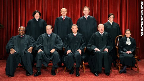 The Justices of the US Supreme Court sit for their official photograph on October 8, 2010, in Washington.