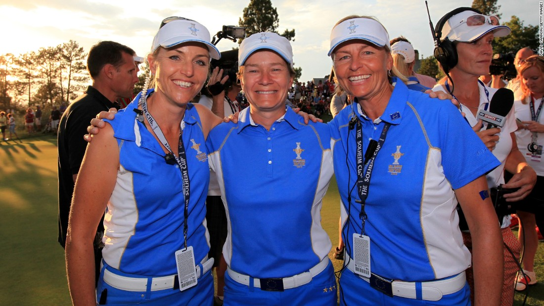 In 2013, Koch (left) was vice-captain to fellow Swede Liselotte Neumann (center) as Europe defeated the U.S. in Colorado.
