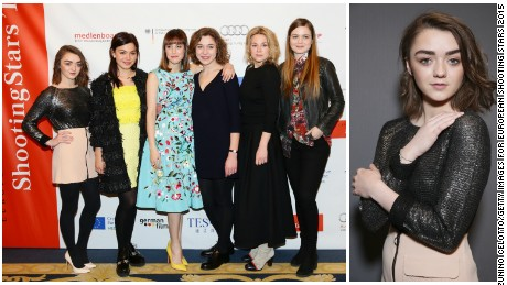 Maisie Williams poses with fellow actresses chosen as Shooting Stars at the  65th Berlinale International Film Festival in February 2015.  (L- R) Maisie Williams, Abbey Hoes, Natalia de Molina, Aiste Dirziute, Emmi Parviainen and Hera Hilmar.