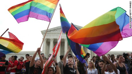 Same-sex marriage supporters rejoice after the U.S Supreme Court hands down a ruling regarding same-sex marriage June 26, 2015 outside the Supreme Court in Washington, DC. The high court ruled that same-sex couples have the right to marry in all 50 states,