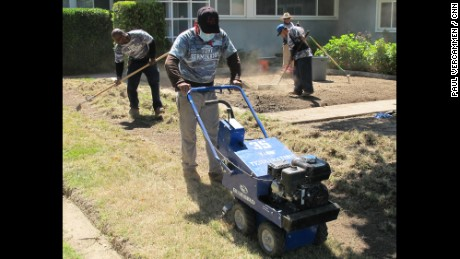 As Southern California water utilities offer up to $6,000 in rebates to homeowners if they replace lawns with drought-friendly plants, a cottage industry also grows, such as these laborers who specialize in sod removal.
