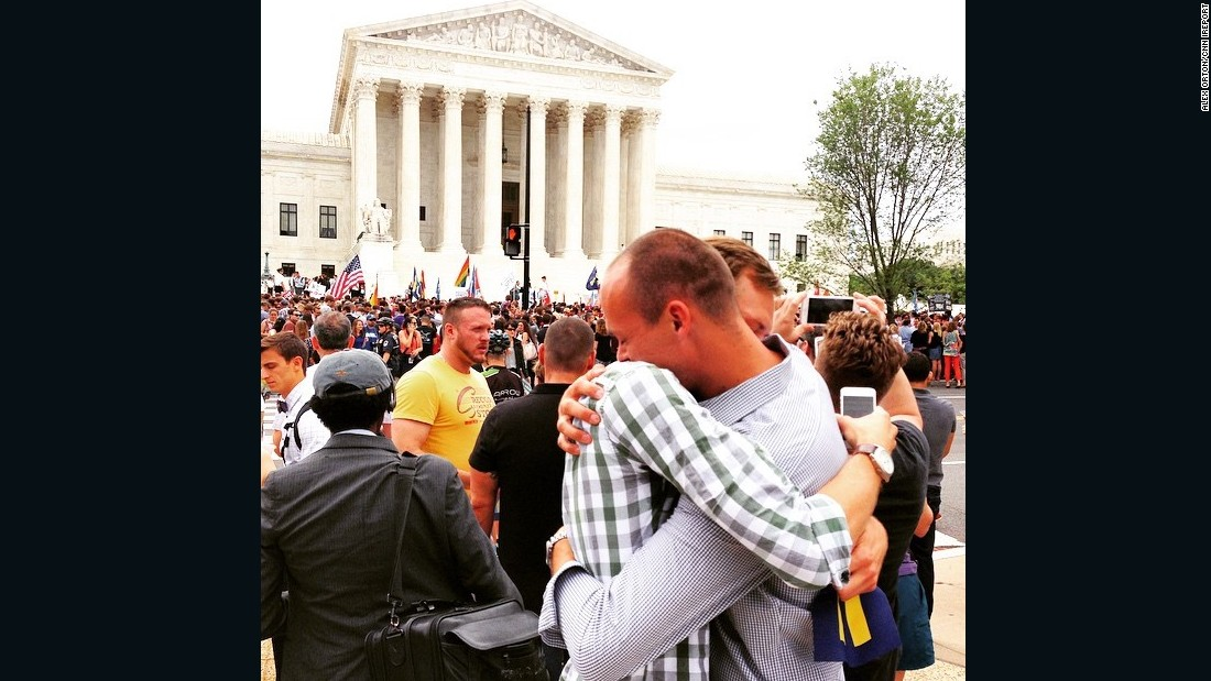"Alex Orton hugs boyfriend Rob Snyder after hearing the Supreme Court ruling. ""What an amazing day for the United States and for LGBT people across the nation,"" he said."