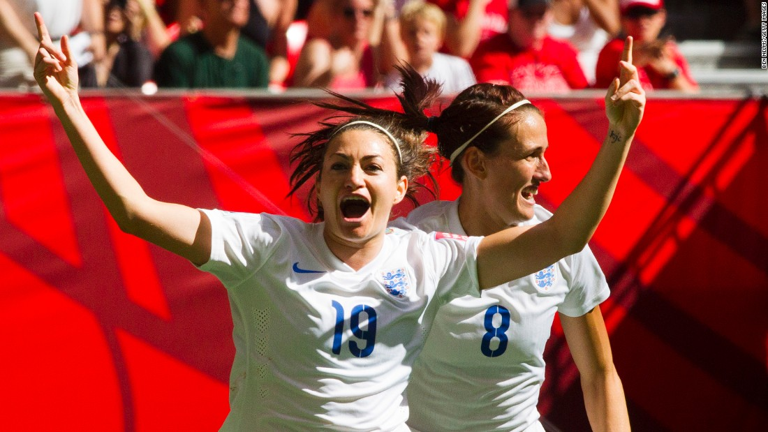 England's Jodie Taylor, left, celebrates her goal against Canada with teammate Jill Scott.