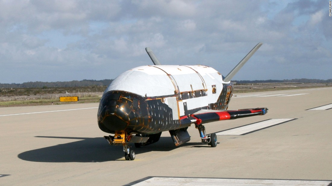 In a testing procedure, the X-37B Orbital Test Vehicle taxis at Vandenberg AFB, California, in June 2009. The X-37 is an unmanned military space plane that is powered into space on a rocket and lands like a conventional aircraft on a runway, like the now-defunct space shuttle. Systems such as the X-37 could provide crucial surveillance over areas that spy satellites are not yet covering, or offer quick replacement if the satellites are shot down.