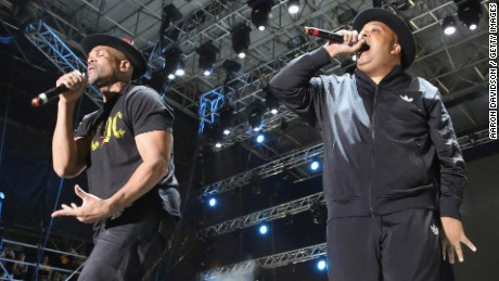 Darryl McDaniels, left and Joseph Simmons of Run DMC performs onstage in Miami Gardens, FL in 2015.