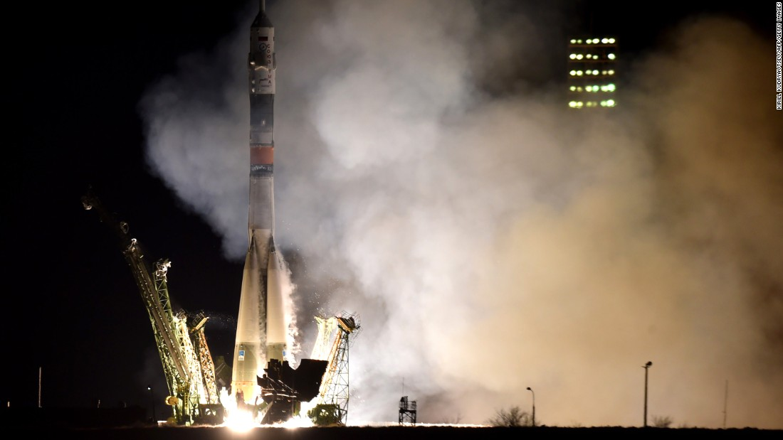 Russia's Soyuz TMA-16M spacecraft, carrying the International Space Station (ISS) crew of US astronaut Scott Kelly and Russian cosmonauts Gennady Padalka and Mikhail Kornienko, blasts off from the launchpad at Baikonur Cosmodrome on March 28, 2015. If a conflict were to break out, the dependence of the U.S. on Russian launch facilities could be a major issue.