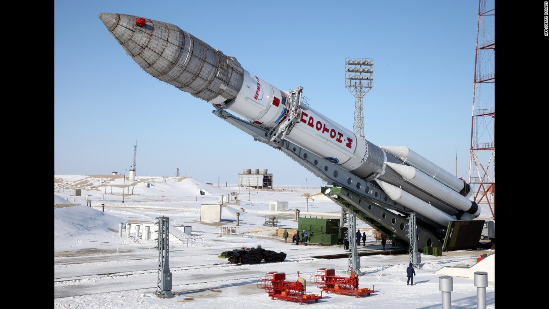 A Russian-built Proton-M rocket, carrying a Turkish Turksat-4A communications satellite, is mounted at a launch pad in the Russian-leased Baikonur Cosmodrome in February 2014. The massive dependence of both commerce and militaries on satellite communications makes space a domain at risk for conflict in the event of war.