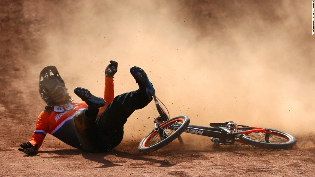 Jelle van Gorkom of the Netherlands crashes during the BMX final at the European Games on Sunday, June 28.