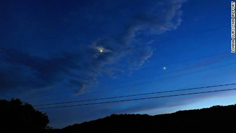 iReporter Lonna Ours took these photos of Venus and Jupiter on June 21. The two planets are moving closer together throughout the month of June and will eventually appear to converge.