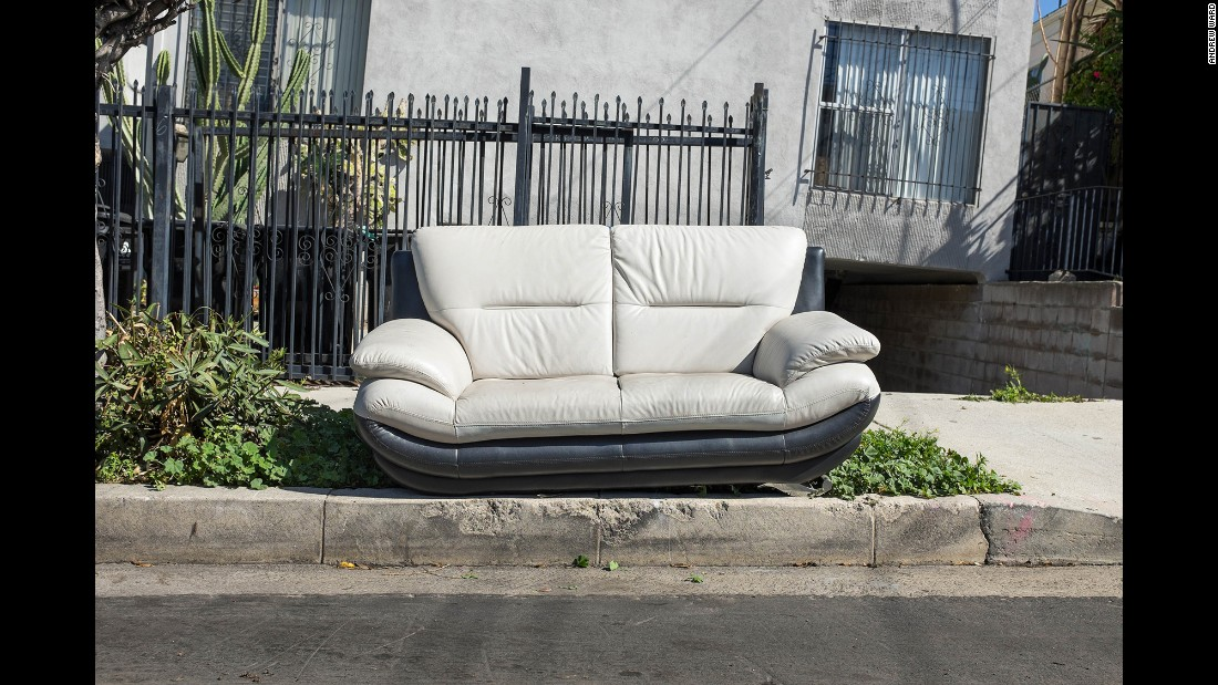 A sofa on Ardmore Street in the Koreatown neighborhood.