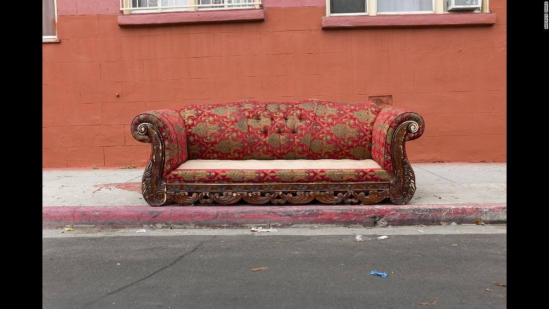 A sofa on Soto Street in the Boyle Heights neighborhood.