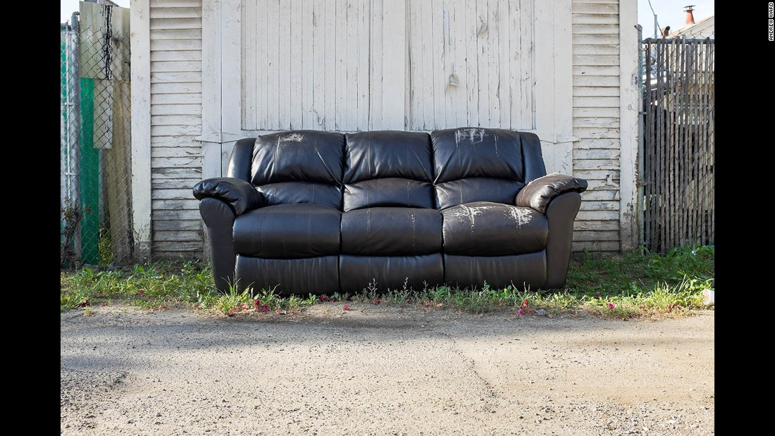 A sofa on Hub Street in Highland Park.