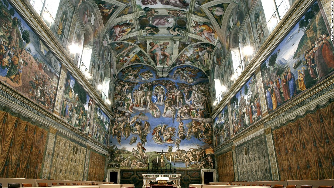 The ceiling of the Vatican's Sistine Chapel, painted by Michelangelo, attracts millions of tourists each year. Last year a new heating and cooling system was introduced in order to try to combat the harmful side effects of tourism.
