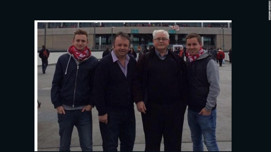 The attack also killed three generations of one family -- Adrian Evans (second from left), 44, his father Patrick (second from right), 78, and his nephew Joel Richards (right), 19. All three were fans of the Walsall Football Club, and fellow fans laid their scarves down outside the stadium in mourning. Joel's brother Owen (left), 16, was shot in the shoulder but survived.