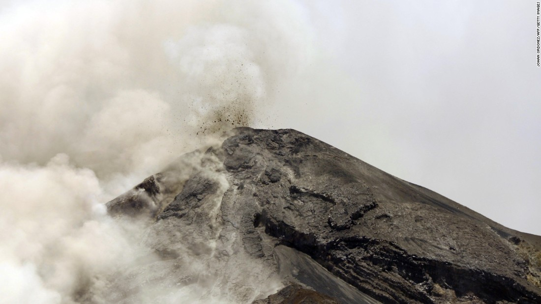Eruptions showered the area within 15 miles of the volcano with ash. In February, a strong eruption shooting ash and water vapor miles into the sky forced authorities to close the international airport temporarily and evacuated around 100 people.