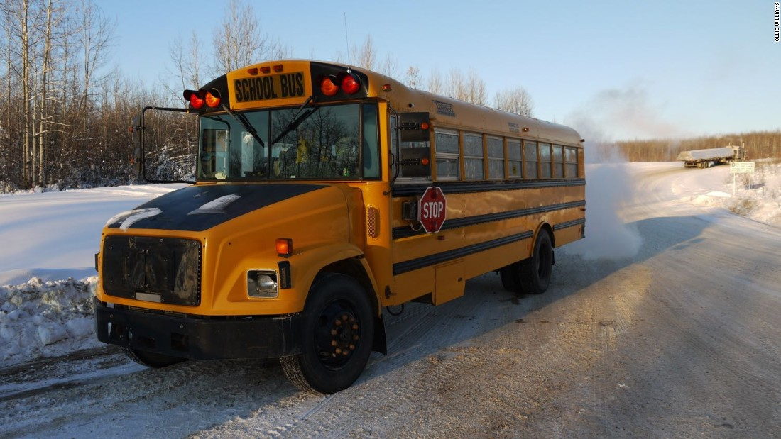 Twenty students from the Northwest Territories hamlet of Fort Liard sat in this school bus for almost 1,000 miles, in temperatures below -30C, to reach a tournament in Edmonton.