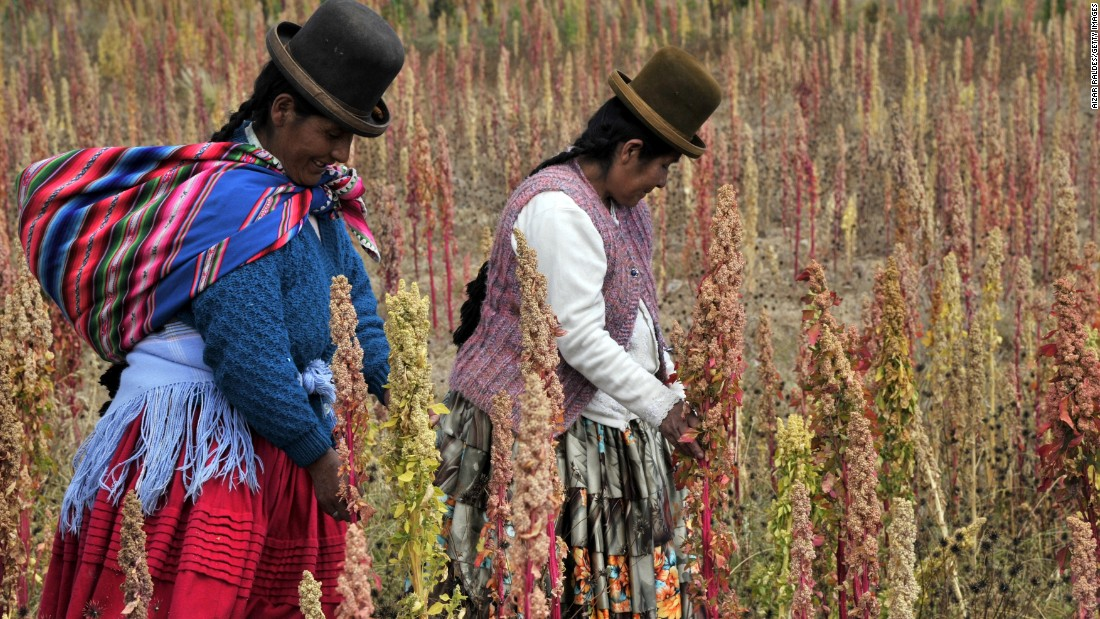 Farmed for over thousands of years, the popularity of ancient grains like quinoa, chia, spelt, bulgar wheat and farro has exploded in the American market. La Paz, Bolivia (pictured) produces 70% of the world's quinoa.