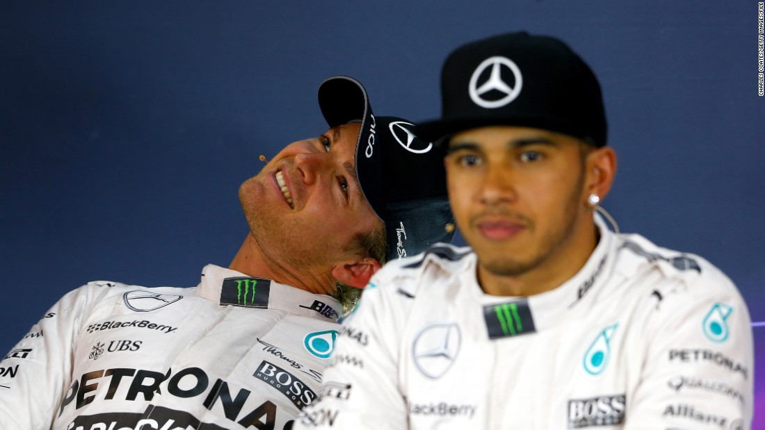 "There's not a lot that separates Lewis Hamilton and Nico Rosberg on the track, but off it the pair aren't exactly close. But this hasn't stopped them parking up their motor homes next to each other at the Silverstone circuit this weekend. When Rosberg was told how he'd accidentally pitched up next to Hamilton, he joked: ""I've organized to put up a big fence in between."""