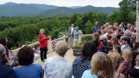 Candidate Hillary Clinton speaks at an organizing event at a private home in Glen, New Hampshire.