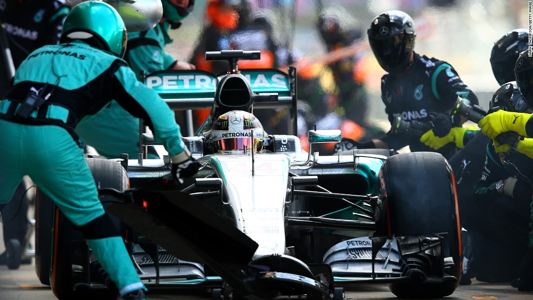 A super efficient pit stop enabled Hamilton to take the lead for the first time after a conceding the early lead off the start.