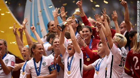 The United States Women's National Soccer Team celebrates after winning the Women's World Cup on Sunday, July 5 in Vancouver, Canada. The United States defeated Japan with a final score of 5-2.
