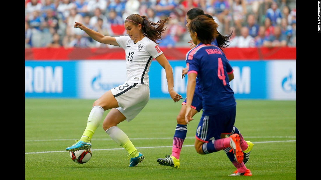 Alex Morgan of the United States controls the ball in the second half.
