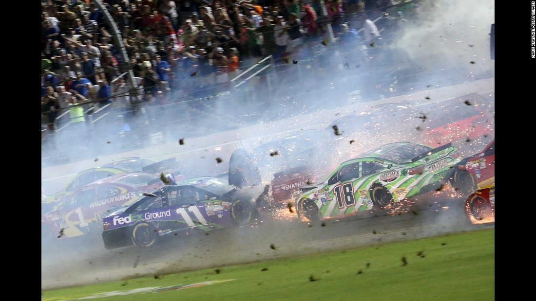 Hamlin spins into other drivers.