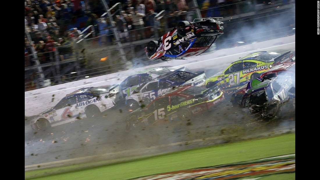 Austin Dillon's Chevrolet flies into the air during the crash.