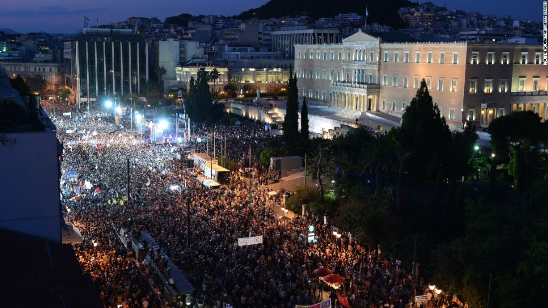 Protesters gather in front of the Greek parliament in Athens, on Monday, June 29. Some 17,000 people took to the streets of Athens and Thessalonique to say 'No' to the latest offer of a bailout deal Monday, accusing Greece's international creditors of blackmail.