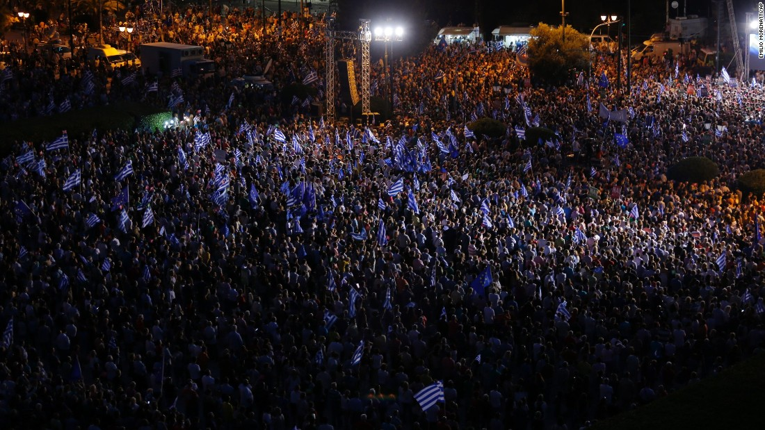 Demonstrators gather during a rally organized by supporters of the Yes vote on Friday, July 3, 2015.
