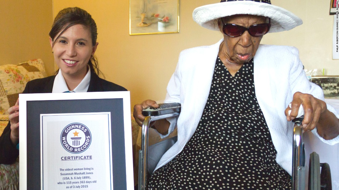 "Susannah Mushatt Jones <a href=""http://www.cnn.com/2016/05/13/living/worlds-oldest-person-dies/"">lived to 116.</a> Born in Lowndes County, Alabama, she moved to New York to work as a live-in child care provider. Earning only $50 a week, she put three nieces through college. She attributed her longevity to clean living, not smoking or drinking, and surrounding herself with loving family members and friends. Sleep also helped, she said."