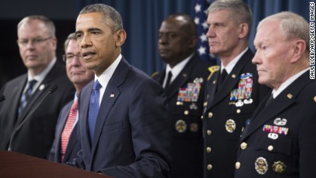 U.S. President Barack Obama speaks following a meeting with top military officials about the military campaign against the Islamic State at the Pentagon in Washington, D.C., July 6, 2015.