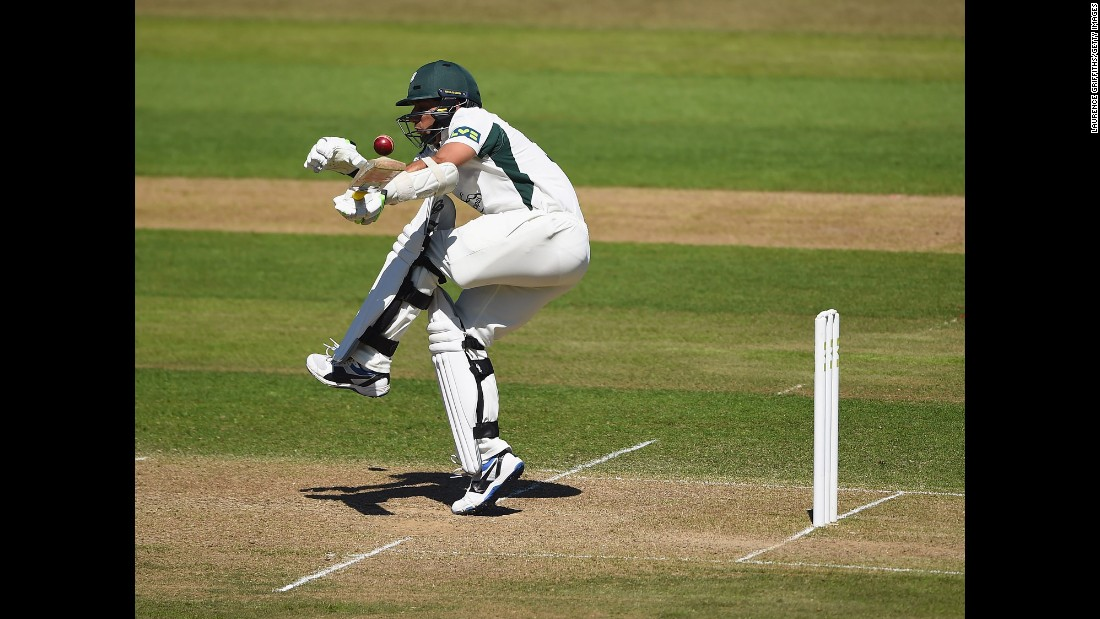 Worcestershire's Saeed Ajmal gets caught up in a short ball while playing Nottinghamshire during a County Championship cricket match in Nottingham, England, on Tuesday, June 30.