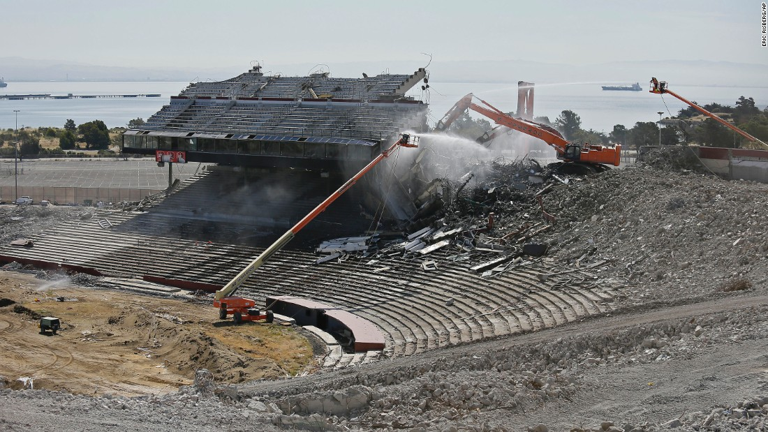 Crews work on the demolition of San Francisco's Candlestick Park on Tuesday, June 30. The stadium used to be home to the San Francisco 49ers and the San Francisco Giants.