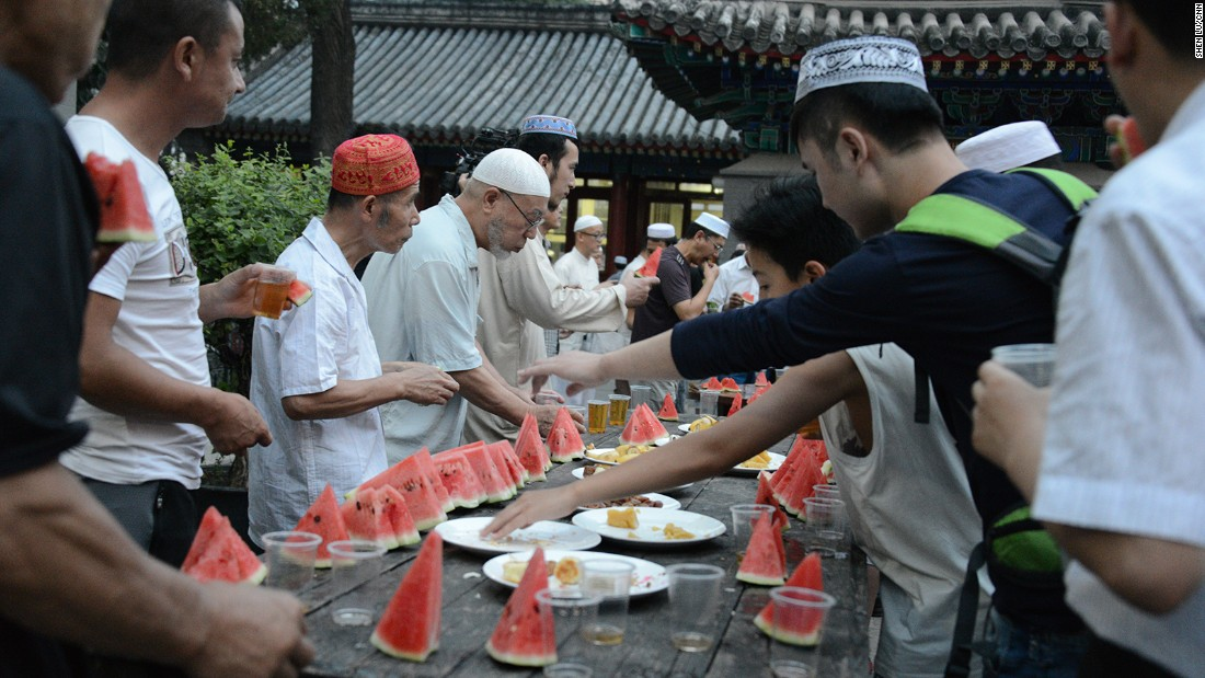 "Muslims here break the fast sharp at 7:45 p.m. when the sun sets. According to the <a href=""http://www.pewforum.org/interactives/muslim-population-graphic/"" target=""_blank"">Pew Foundation</a>, China has more than 23 million Muslims -- 1.8% of the population. Most live in China's northwest."