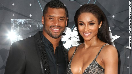 LOS ANGELES, CA - JUNE 28: Professional football player Russell Wilson (L) and recording artist Ciara attend the 2015 BET Awards at the Microsoft Theater on June 28, 2015 in Los Angeles, California. (Photo by Frederick M. Brown/Getty Images for BET)