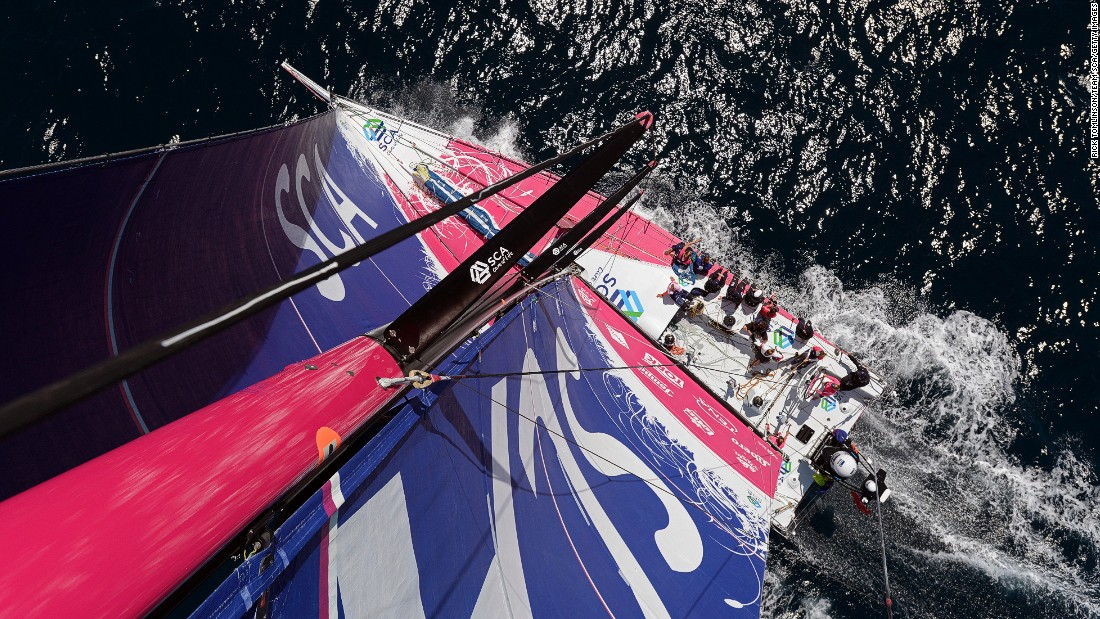 Looking down from the top of the Team SCA mast. The all-female crew created history in June, winning the eighth leg of the Volvo Ocean Race.