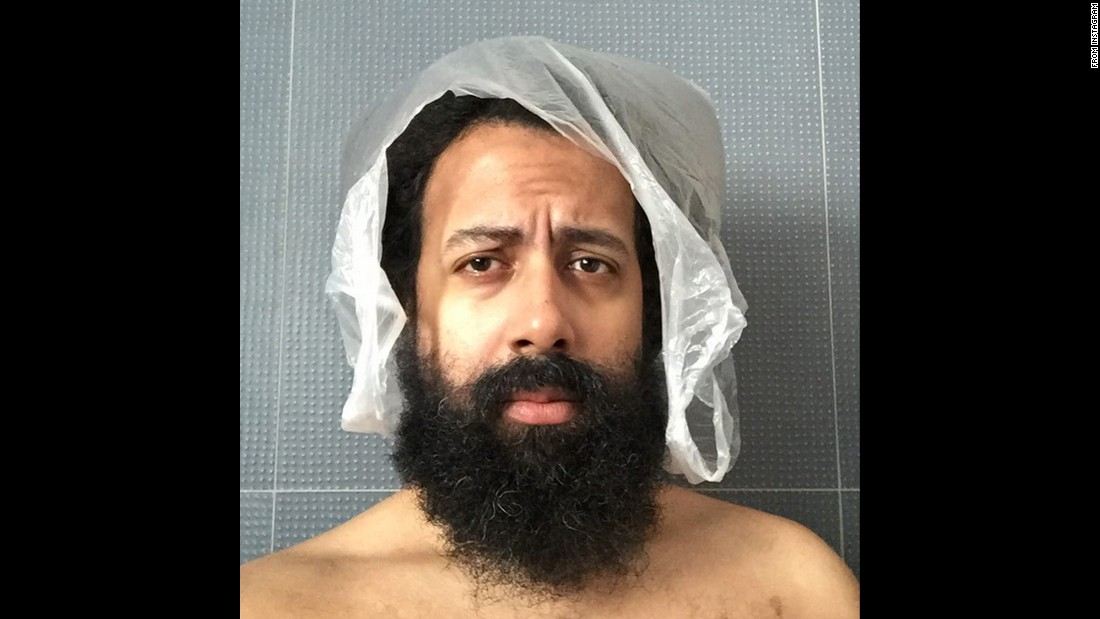 "Comedian Reggie Watts wears a plastic bag on his head <a href=""https://instagram.com/p/4rq6_qKFVw/"" target=""_blank"">in this uncaptioned selfie</a> from Friday, July 3."