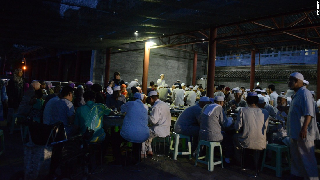 About 200 Muslims  took part in the Iftar meal at the Niujie Mosque on July 6.