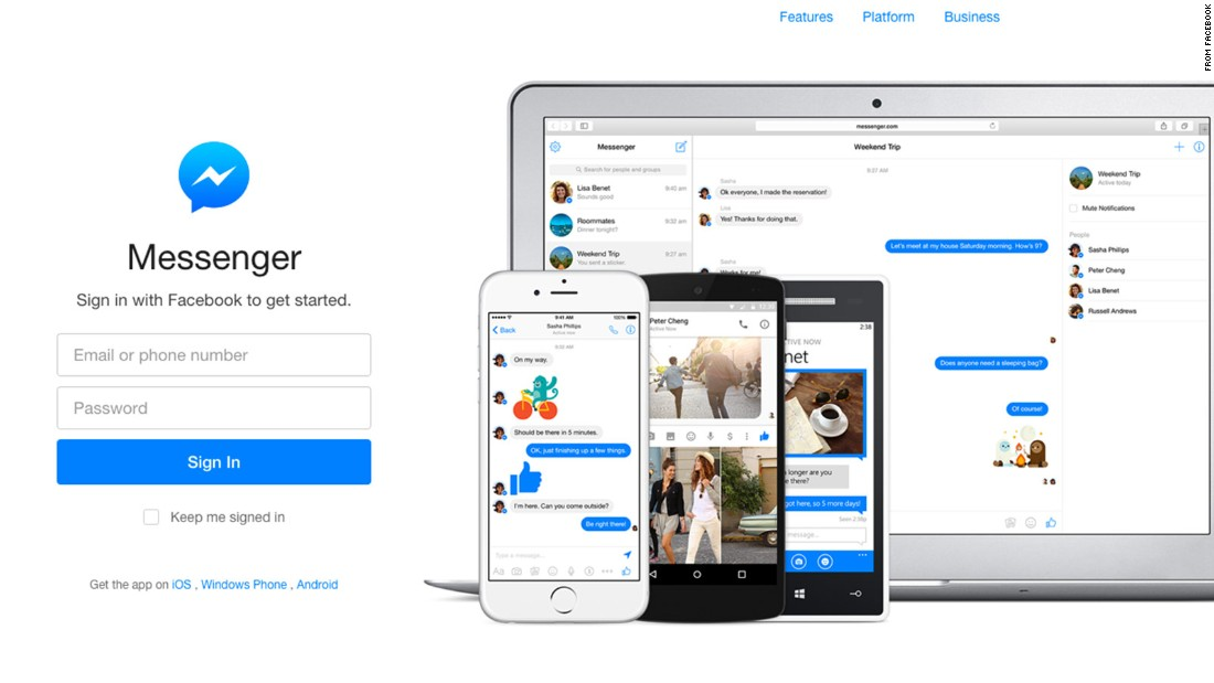 Mobile users who want to message friends can do so using the Messenger app, introduced in 2011.