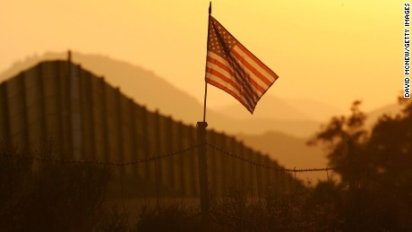 A flag put up by activists who oppose illegal immigration flies near Campo, California.