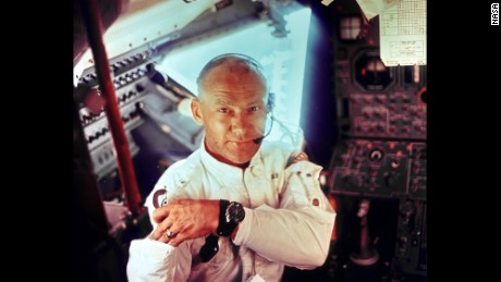 Buzz Aldrin during the lunar landing mission in 1969.