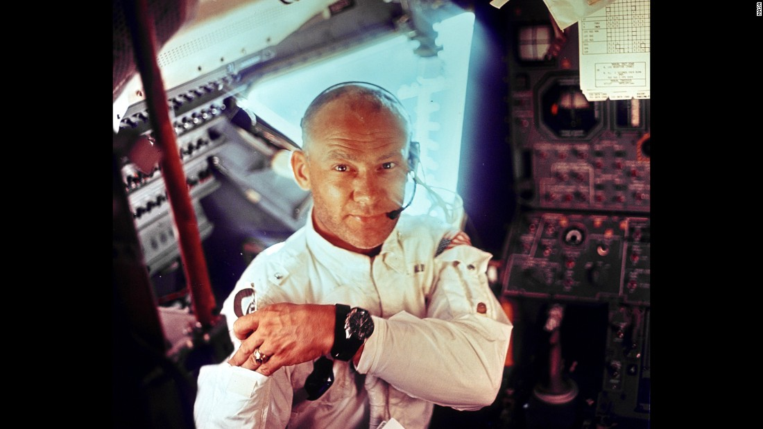 "Aldrin is photographed by Armstrong inside Apollo 11's lunar module, just prior to the moon landing. In orbit, Aldrin later took what would become known as the world's first <a href=""http://www.cnn.com/videos/tech/2014/07/15/orig-buzz-aldrin-space-selfie.cnn"">space selfie</a>."
