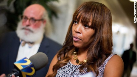 Maya Dillard Smith, executive director of the Georgia branch of the American Civil Liberties Union Foundation, right, speaks to reporters following the Georgia Court of Appeals hearing Thursday in Atlanta.