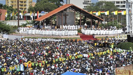 Pope Francis officiates a holy mass at the square of Christ the Redeemer in Santa Cruz, Bolivia on Thursday, July 9.
