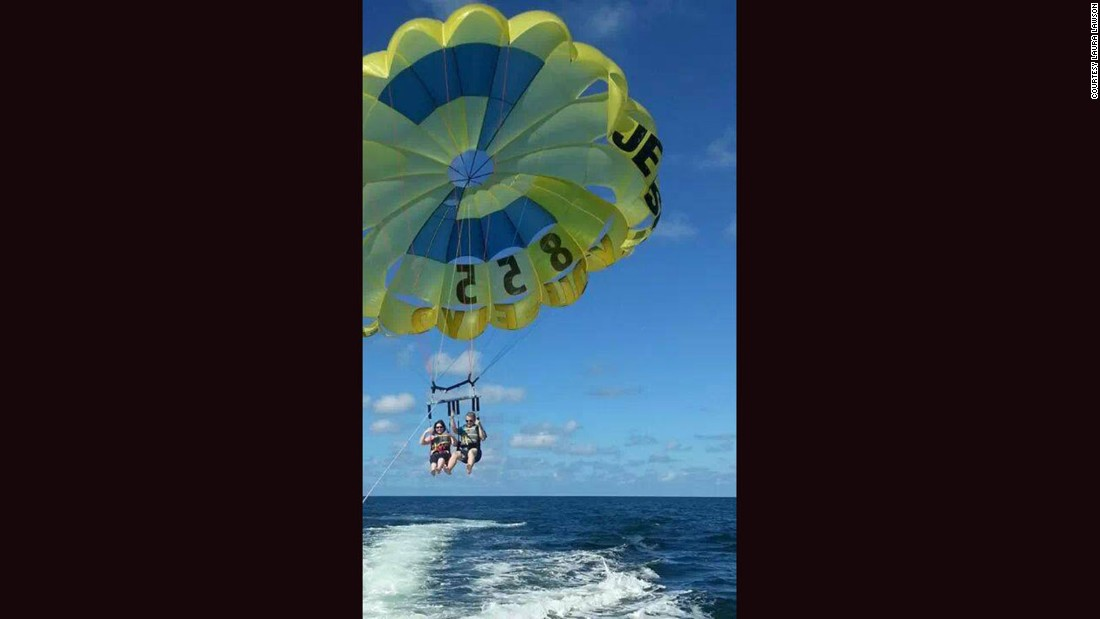 Parasailing was a better way to experience Lawson's favorite thing, being up in the air, and avoiding open water.